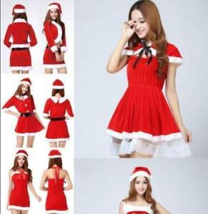New-Women-Santa-Claus-Holiday-Costume-Cosplay-Girls-Xmas-Outfit-Fancy-Party