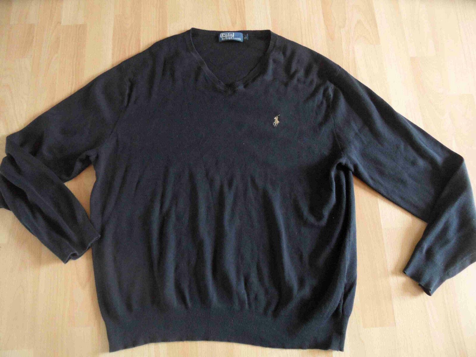 RALPH LAUREN schöner Basic Pullover schwarz m. V-Ausschnitt Gr. XL TOP 07-13