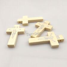 100pcs/lot Printed Jesus White Color Wood Cross Pendant For Necklace DIY