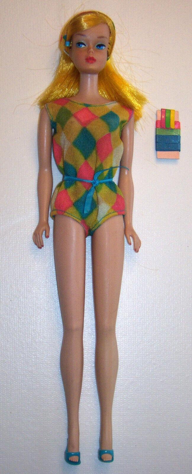 Vintage  1150 Biondo Dorato Coloree Magic Bambola Barbie Bl 1966-1967 Oss Nastri