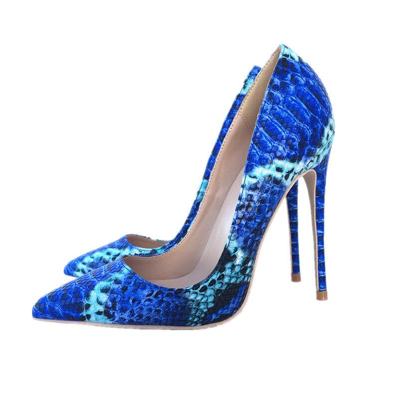 100% nuovo di zecca con qualità originale US4-11 donna European blu blu blu Snakeskin Slip on Pumps Stilettos Heels scarpe Sexy  l'ultimo