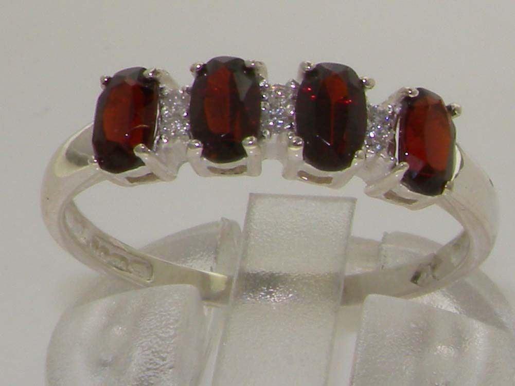 10ct White gold Natural Garnet & Diamond Womens Modern Ring - Sizes J to Z