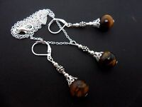 A PRETTY TIGERS EYE BEAD  NECKLACE AND LEVERBACK HOOK  EARRING SET. NEW.