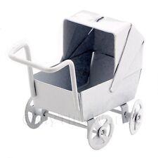 Puppenhaus Miniatur Altmodische Weißmetall Kinderwagen