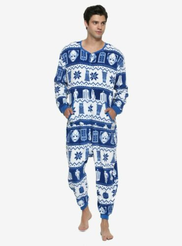 DR WHO TARDIS ONE SIZE UNION SUIT one piece DALEKS FAIR ISLE jump body thermal