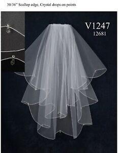 NWT-J-L-Johnson-V1247-Aurora-crystals-white-double-layer-bridal-veil-sparkling