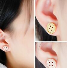 New Ladies 18k Gold Plated Button Earrings Studs Celeb Trend Karma Circle