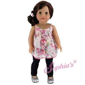 "Ivory Print Ruffle Blouse & Denim Jeggings Doll fit 18"" American Girl Doll"