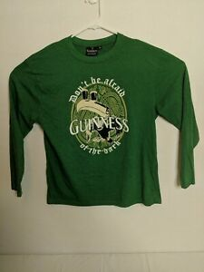Guinness-Men-039-s-Large-Long-Sleeve-Green-T-Shirt-Cotton-Blend-Relaxed-Fit