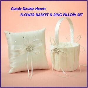 Classic-CRYSTAL-HEARTS-Wedding-Flower-Girl-Baskets-Bowknot-Ring-Bearer-Pillows