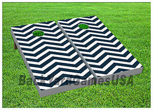Cornhole-Blue-Chevron-Boards-BEANBAG-TOSS-GAME-w-Bags-Set