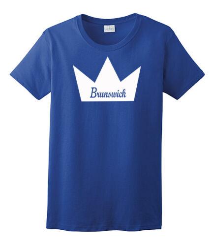 Brunswick Women/'s T-Shirt Bowling Shirt 100/% Ultra Cotton Royal Blue White