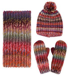 Adults  Women s Men 3 in 1 Winter Warm Knit Beanie Hat Scarf ... 4f7bfa211753