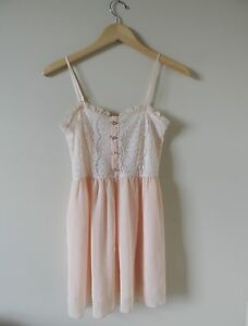 Women-039-s-Solemio-Anthropologie-Pink-Lace-Sheer-Dress-Size-Small