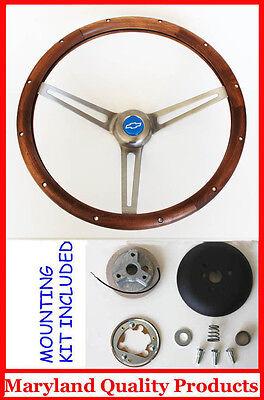 "1964-1966 Impala Nova Bel Air GRANT Walnut Wood 15/"" Steering Wheel Blue Bow New"