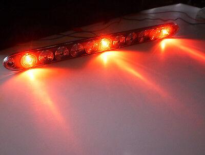 USA -TecNiq Red Clear HI Mount Center ID Bar 11 LED Stop Light Trailer Truck