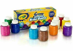 Crayola-Washable-Kids-Paint-Set-Pack-of-10-Bottles-NEW