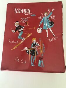Vintage-IDEAL-DOLLS-TAMMY-Red-Wardrobe-Carrying-CASE-For-Clothing-Trunk-HTF