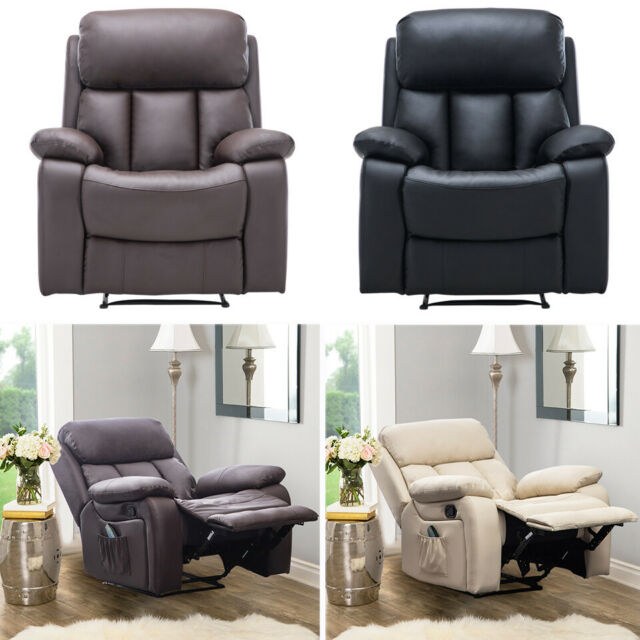 Astounding Winged Leather Recliner Chair Massage Armchair With Electric Heated Sofa Lounge Creativecarmelina Interior Chair Design Creativecarmelinacom