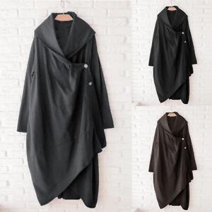 ZANZEA-Womens-Long-Sleeve-Casual-Loose-Cardigan-High-Low-Button-Down-Trench-Coat