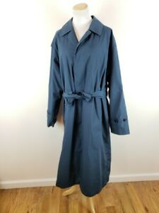 VTG-SANYO-by-CAROL-COHEN-Mens-38R-Blue-Full-Length-Overcoat-w-Button-in-Lining