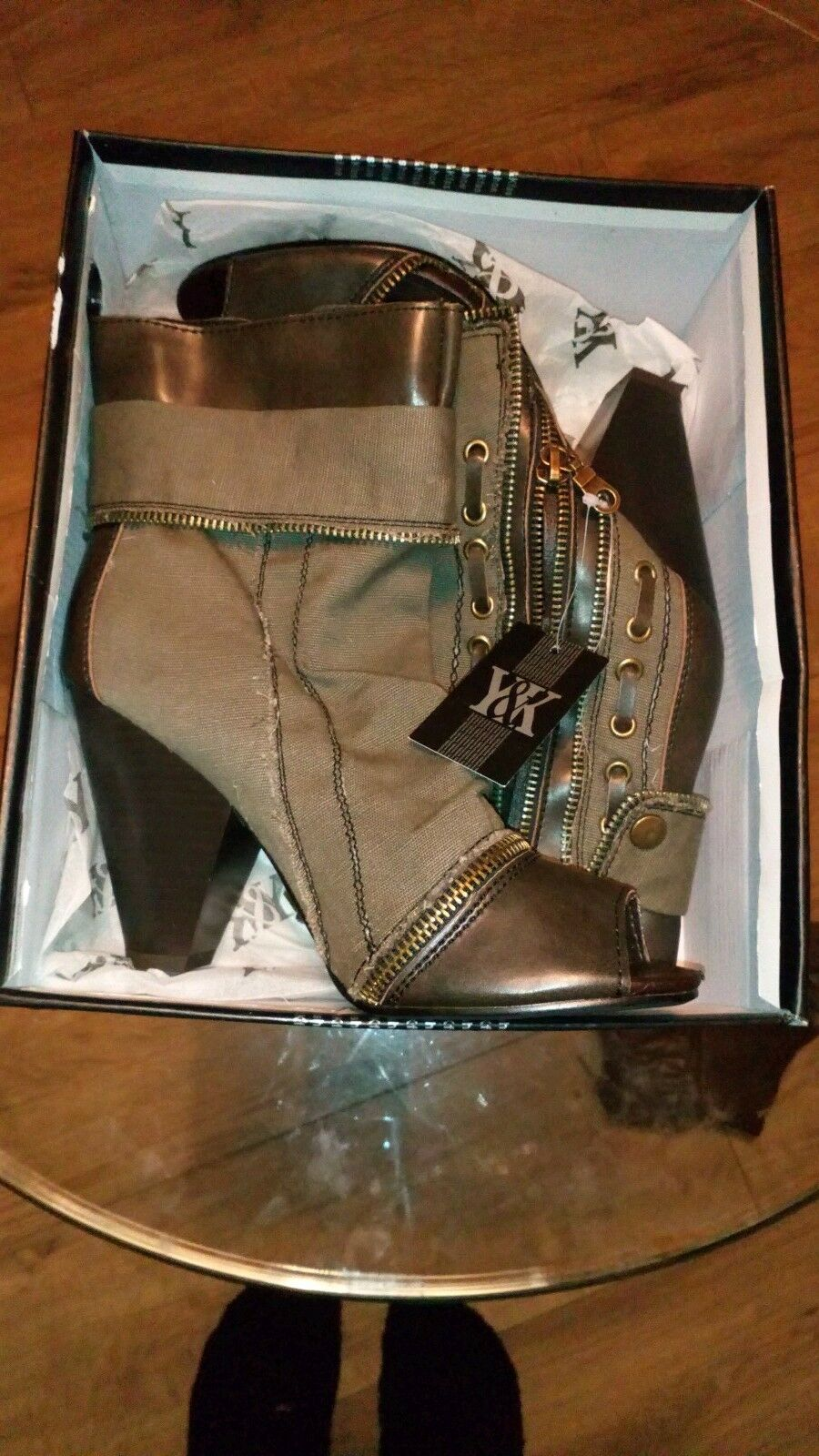 Women y&k millitary open toe khaki and black ankle boots uk4