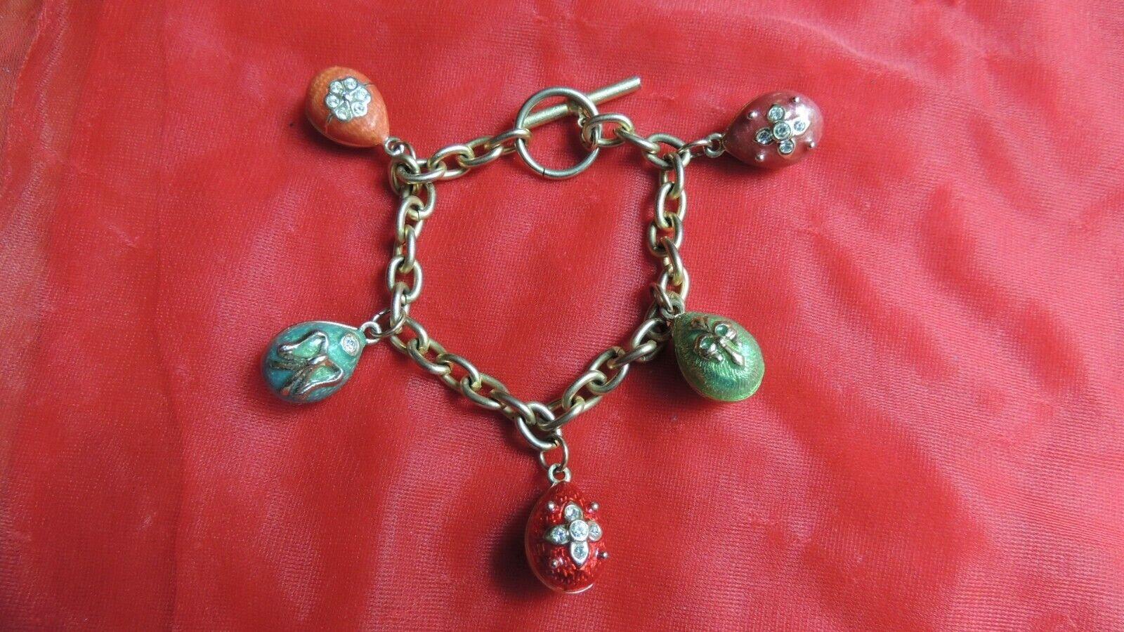 gold Tone bluee Green Red Enameled Crystal Egg Charm Bracelet