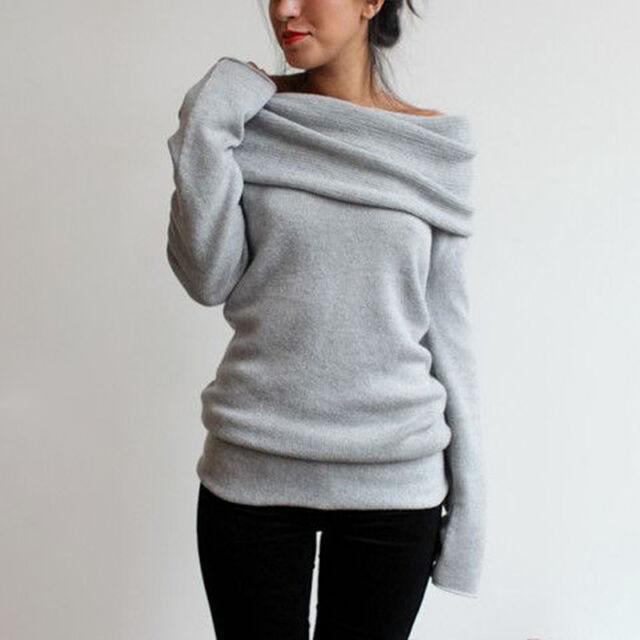Women Cowl Neck Long Sleeve Casual Sweater Sweatshirt Jumper Pullover Tops Shirt