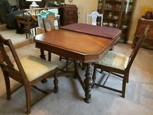 1920s Dark Walnut Dining Room Table Chairs Ebay