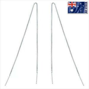 Genuine-925-Sterling-Silver-Thread-Threader-Earrings-Bar-Piercing-Chain-Long-NEW