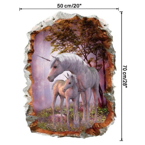 3D Broken Wall Unicorn Wall Sticker Child Living Room Nursery DIY Decal Decor UK