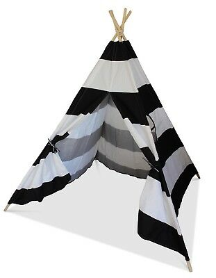 Play House Play Tent Wigwam tipi Grey and White Striped Children/'s Teepee