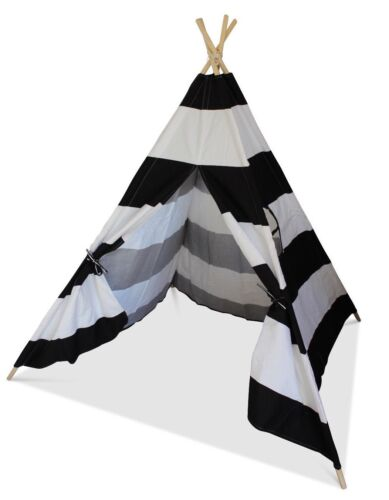 Black And White Striped Children's Teepee Wigwam Play Tent Play House Kids