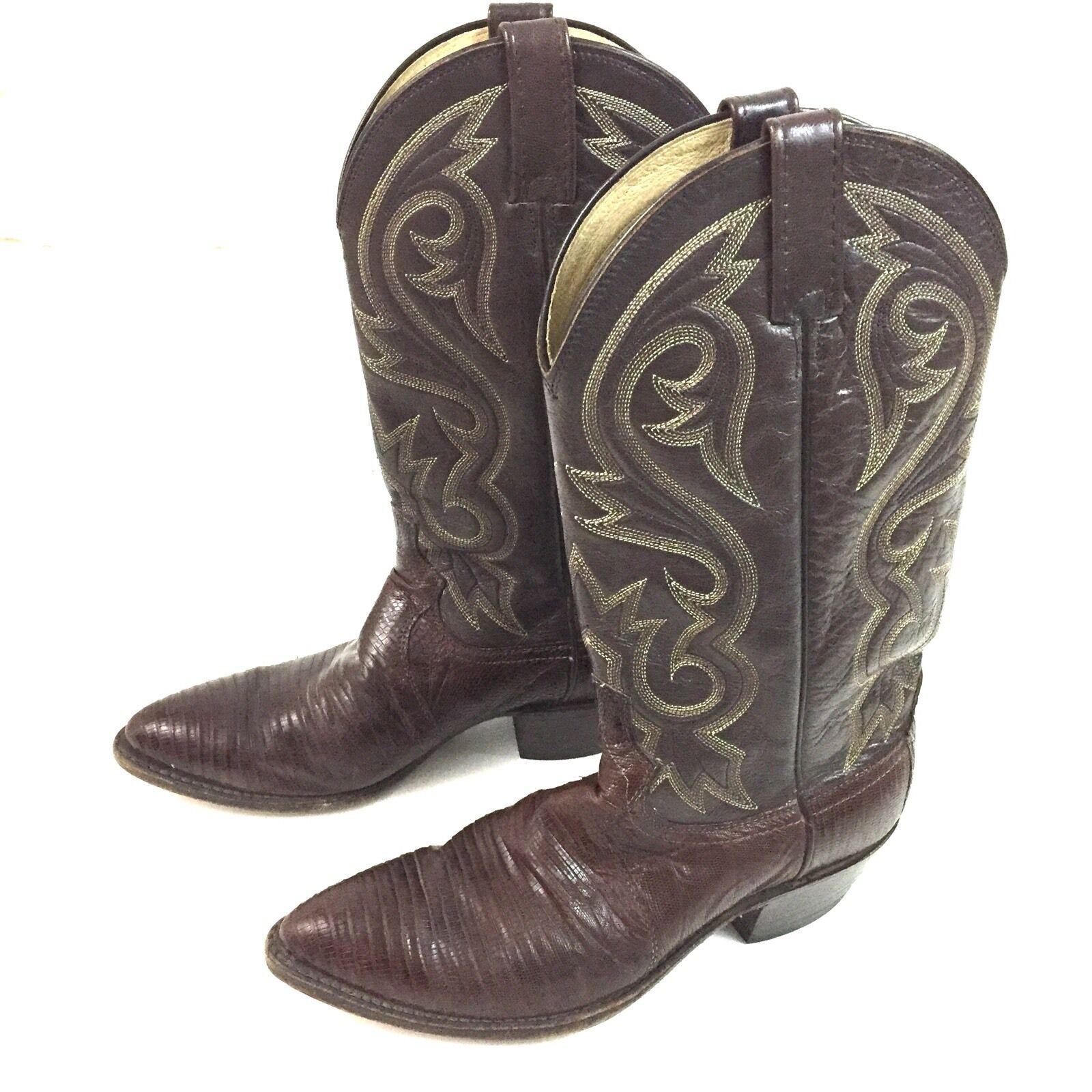 Vtg Dan Post Lizard Skin Pelle Cowboy Stivali 9D