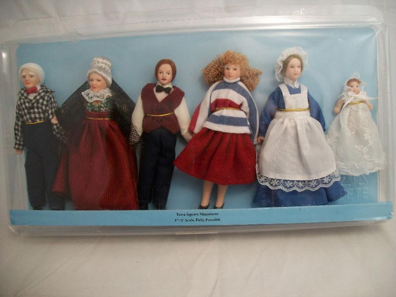 Victorian Porcelain bambola Extended Family ceramic miniature  G7658 6pc  1 12 scale  contatore genuino