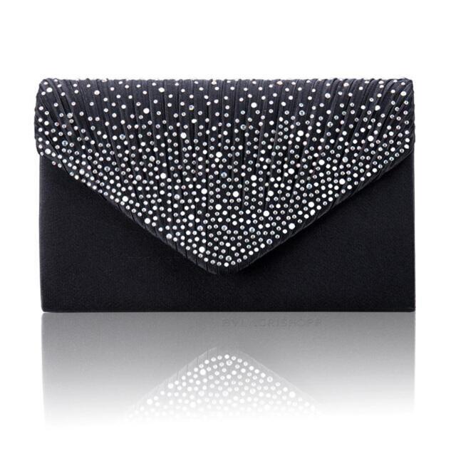 908e9d1f998 Women Satin Diamante Bag Evening Bridal Ladies Clutch Handbag ...