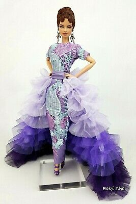 Eaki Evening White Purple Dress Gown Outfit Silkstone Barbie Fashion Royalty FR2