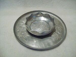 Vintage Aluminum Round Tray and Aluminum Bowl Floral Patterns