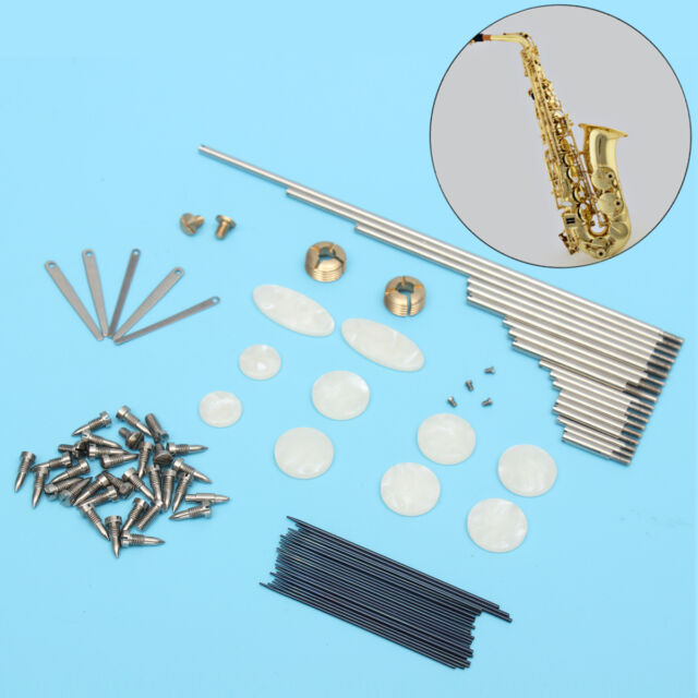 New Tenor Sax Repair Parts Kit Rollers & Screws & Spring +  Key Buttons Inlays