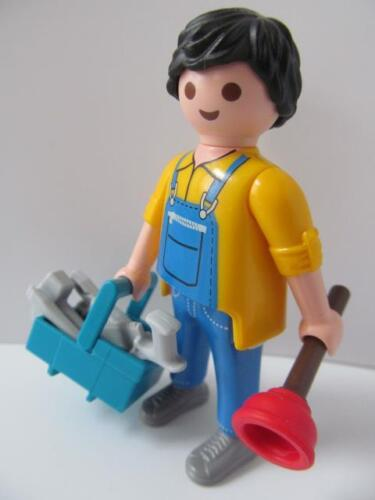 Playmobil HOTEL/école/Hospital/dollshouse figure: Plombier/gardien & outils NEUF