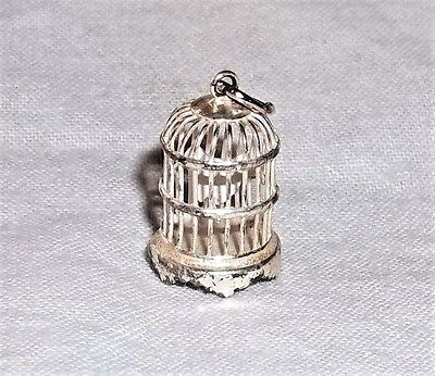 Vintage 925 Sterling Silver 3D BIRD CAGE Animal Charm w Birdie on a Perch Inside