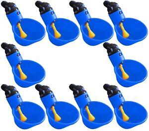 (10) AUTOMATIC WATERER DRINKER CUPS CHICKEN COOP POULTRY CHOOK BIRD TURKEY DRINK