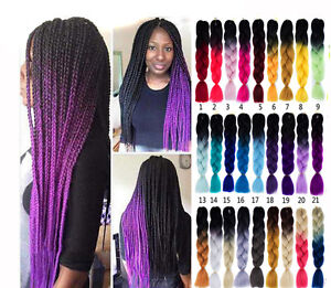 Image Is Loading 1pcs 3 Color Tone Synthetic Braids Ombre Kanekalon