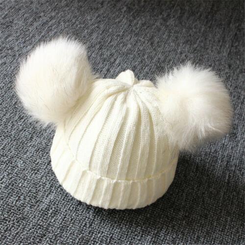 Girls Boys Winter Warm Knit Hat Furry Balls Pompom Solid Warm  Bobble Cap
