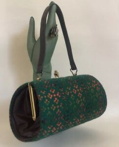 Vintage-1960s-Barrel-Shaped-Handbag-Dark-Green-Welsh-Tweed-Wool-amp-Fabric-Lining