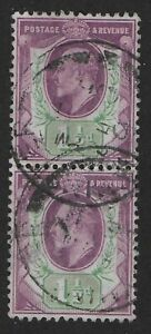 SG221-1-amp-1-2d-Dull-Purple-amp-Green-Fine-Used-Vertical-Pair-Cat-40-Ref-094