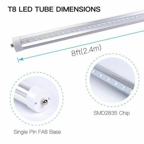 20-Pack Single Pin FA8 Base T8 LED Tube Light 8ft 45W LUMINOSUM Clear Cov...