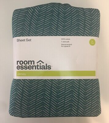 Room Essentials Sheet Set Chevron Jersey Cotton Bed Turquoise Fitted Twin XL