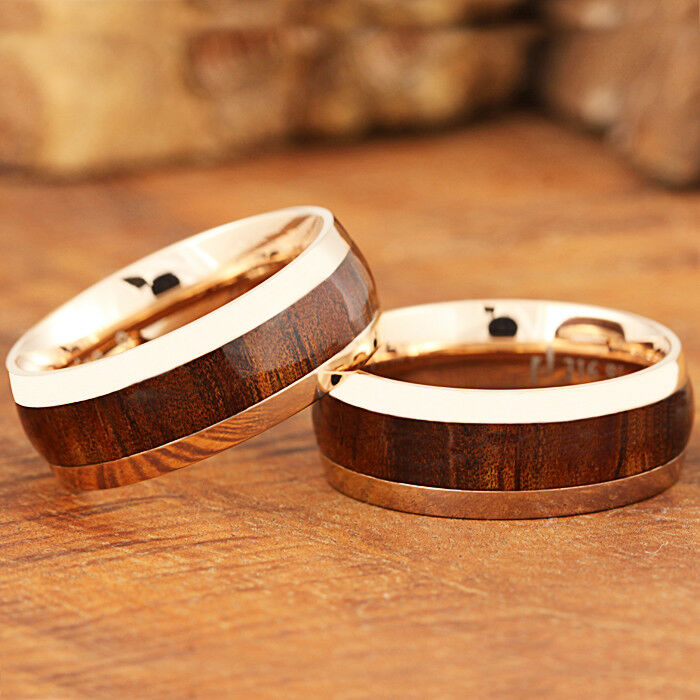 8mm Pink gold Stainless Steel Koa Wood Ring Oval Shape SLR6113