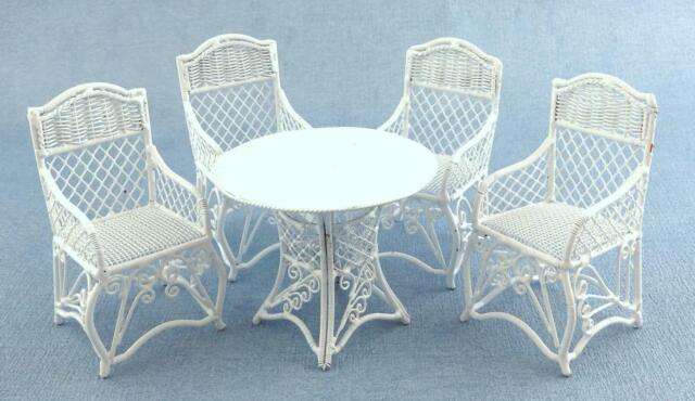 Dolls House Miniature Garden Furniture, White Outdoor Wrought Iron Patio Furniture